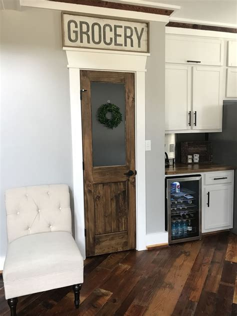 rustic pantry door  frosted glass