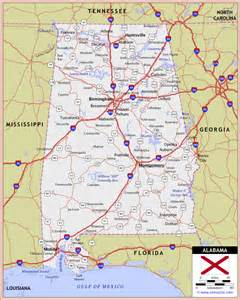 alabama highway and road map raster image version world