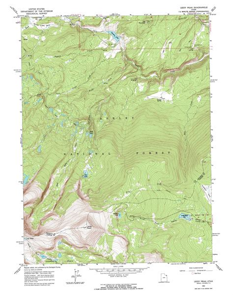 topographical map of utah leidy peak topographic map ut usgs topo 40109g7