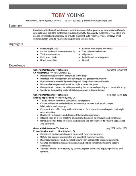 Maintenance Technician Resume by General Maintenance Technician Resume Exles Free To