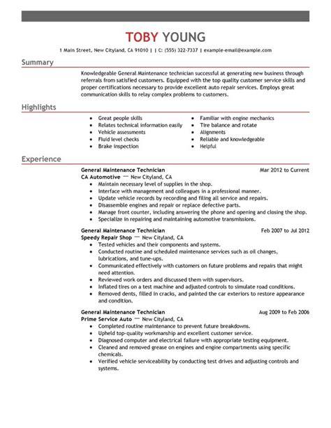 Unforgettable General Maintenance Technician Resume