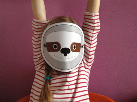 sloth mask template sloth mask for children pdf by dieknuschels printables