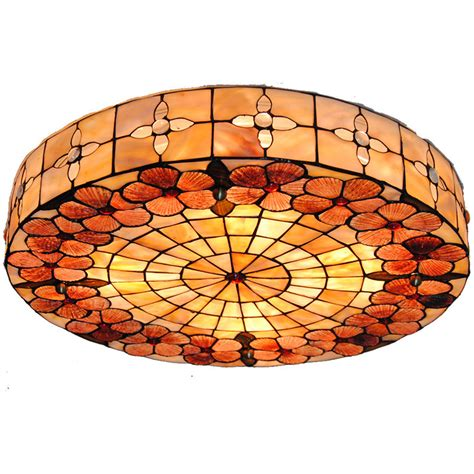 leaded glass ceiling light with flower pattern 17 quot wide 3r tiffany style stained glass ceiling l modern vintage