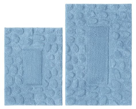 bathroom rugs with non skid backing new 2 piece bathroom rug set blue pebble washable 100