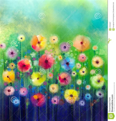 spring paint abstract floral watercolor painting stock illustration