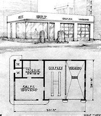 gas station floor plan line drawing of an oblong box gas station and floor plan