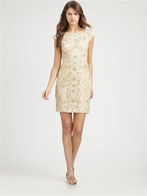 Sue Wong Beaded Dress In Gold Chagne Lyst