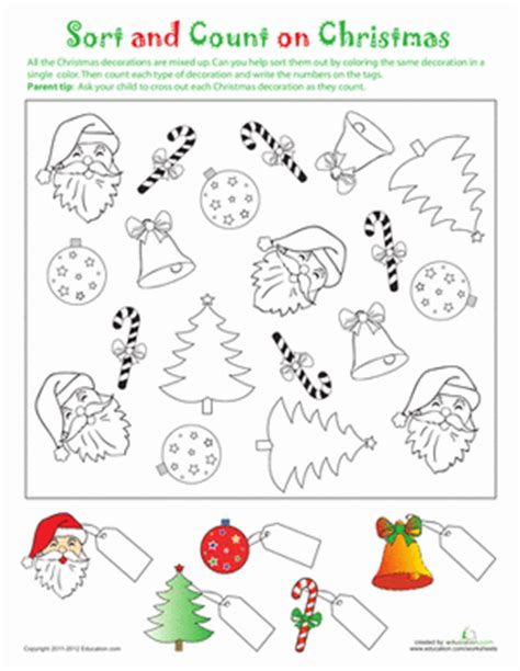 printable christmas counting games sort and count on christmas worksheet education com