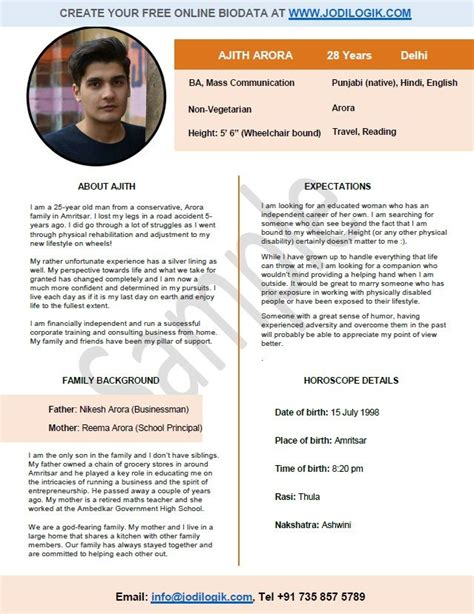 5 marriage biodata sample doc service letters