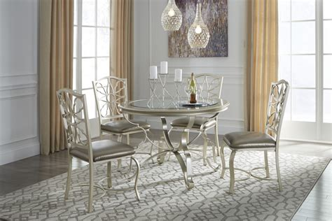 Silver Dining Room Table Shollyn Silver Dining Room Table 4 Uph Side Chairs D390 15 01 4 Dining Room