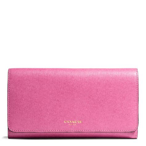 Pink Wallet coach checkbook wallet in saffiano leather in pink lyst