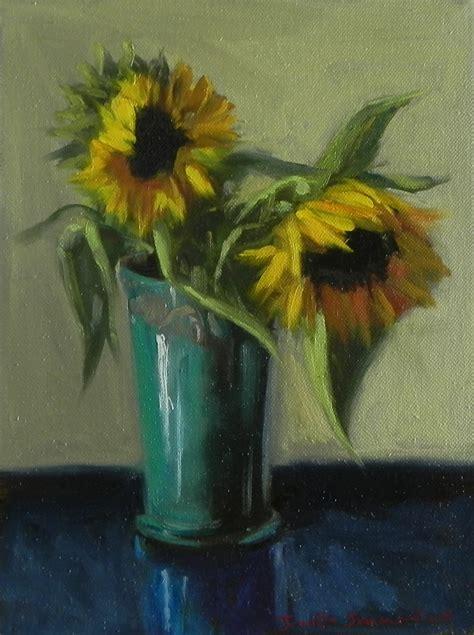 jonelle summerfield paintings sunflowers in blue vase