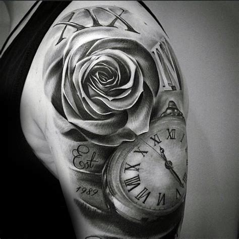 black and grey rose tattoos for men 100 numeral tattoos for manly numerical ink ideas