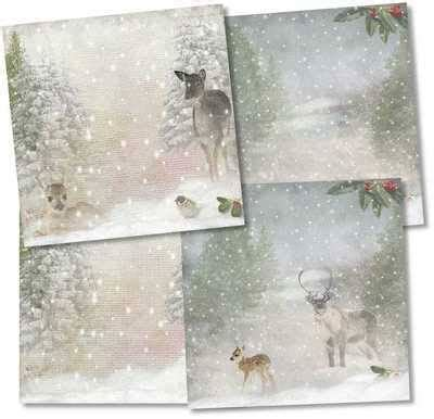 christmas backing papers downloads snow scene  deer