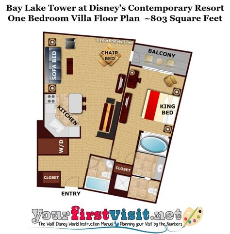 Disney Contemporary Resort Hospitality Suite Floor Plan - photo tour of the living dining kitchen space in one and