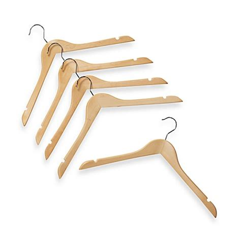 bed bath beyond hangers natural wood 17 inch shirt hangers set of 5 bed bath