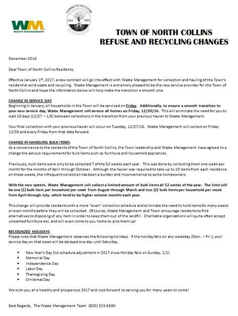 cancellation letter to waste management t o w n o f n o r t h c o