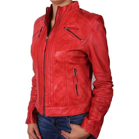 red motorcycle jacket women red leather biker jacket sophie