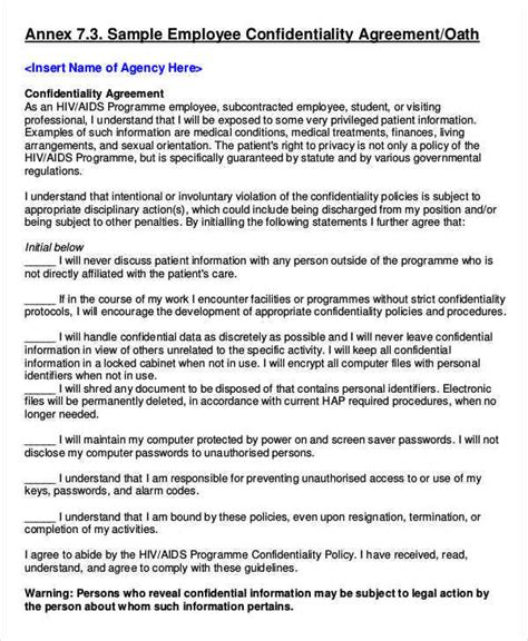9 Employee Confidentiality Agreements Free Sle Exle Format Download Sle Templates Employee Confidentiality Agreement Template