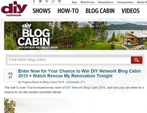 Diy Network Cabin Sweepstakes by Diy 2015 Cabin Autos Post