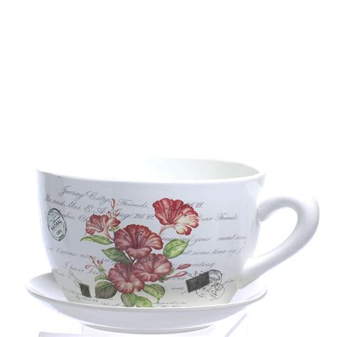 french inspired tea cup and saucer flower planter vase