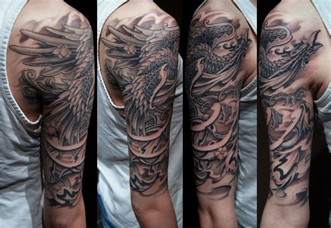 quarter sleeve tattoo black black and grey half sleeve tattoos