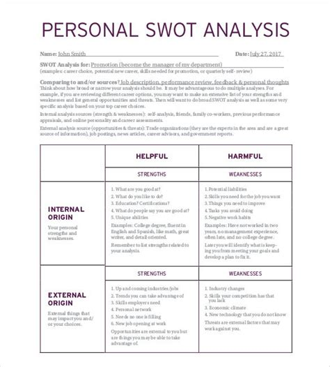 what is a swot analysis template personal swot analysis template 22 exles in pdf