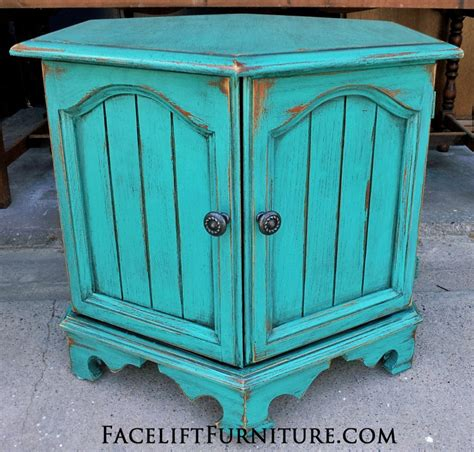 Rustic Turquoise Hexagon End Table   Facelift Furniture