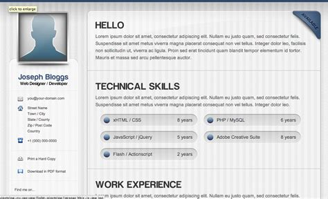 Html Resume Template by Html Resume Templates Css Menumaker