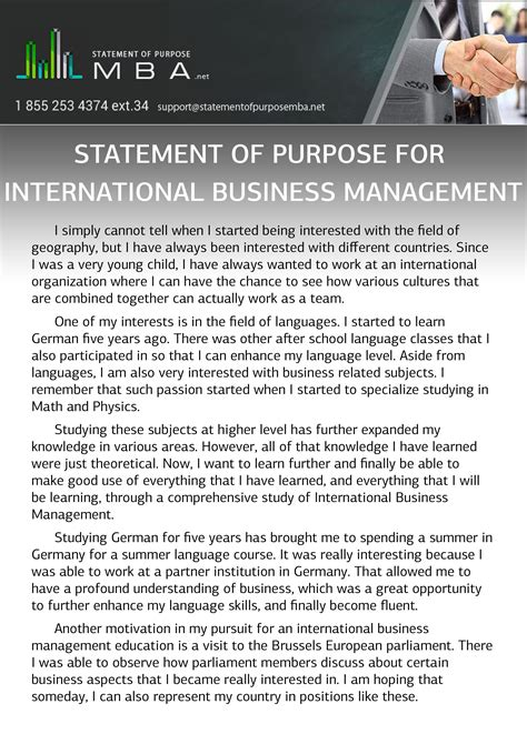 Mba In Business Management by Mba Statement Of Purpose For International Business