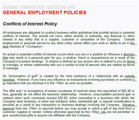 sle statement of interest sle conflict of interest policy template 28 images