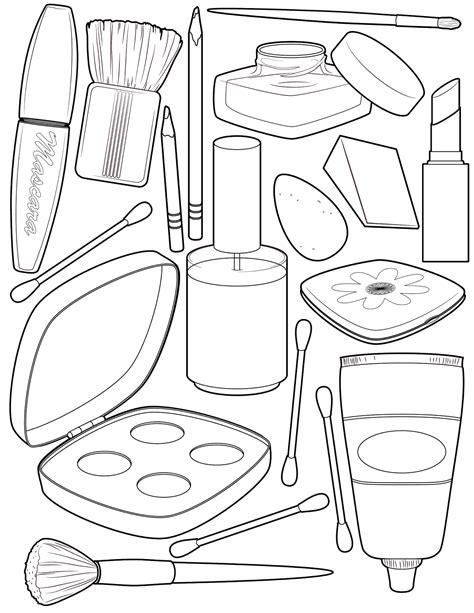 printable coloring book makeup coloring page illustration coloring pages