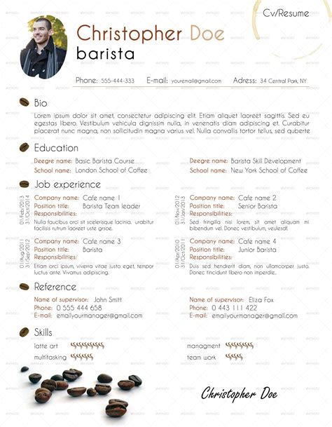 resume barista resume tips and description exles barista resume cover letter