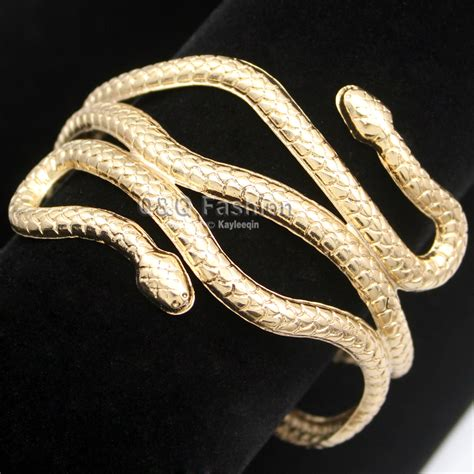 Arm Bangles And Bracelets by New Gold Silver Cleopatra Gold Swirl Snake Arm Cuff