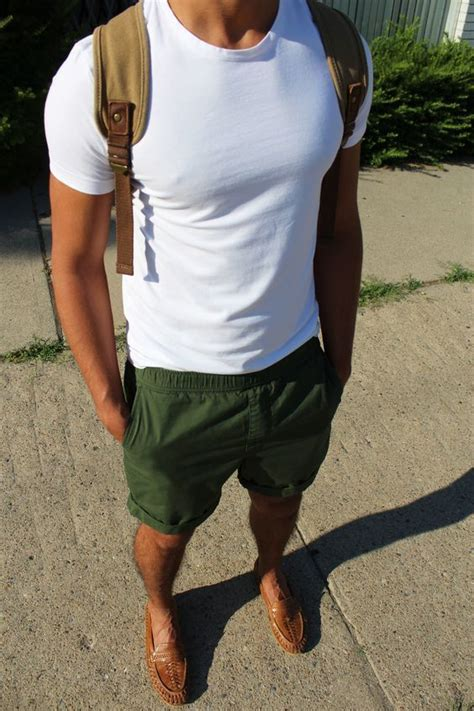 loafers with shorts s white crew neck t shirt green shorts brown
