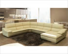 modern beige italian leather sectional sofa 44l5957