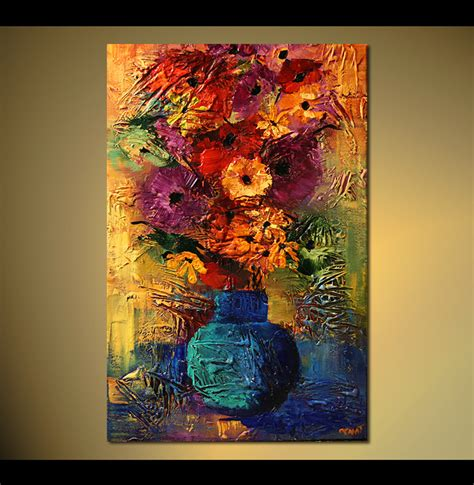 Vase Paintings by 36 Quot X24 Quot Flowers Print Stretched Embellished Abstract