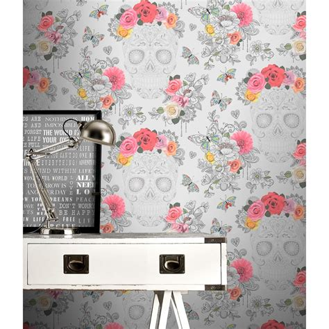grey wallpaper b m sugar skulls wallpaper grey wallpaper b m