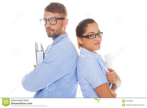 professional couple professional couple holding documents royalty free stock