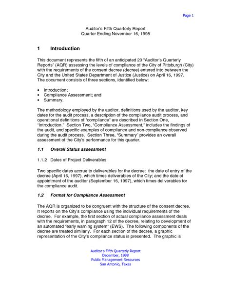 report format template formal business report