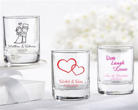 Customized Wedding Giveaways - presenting your guests with personalized shot glasses for wedding favors