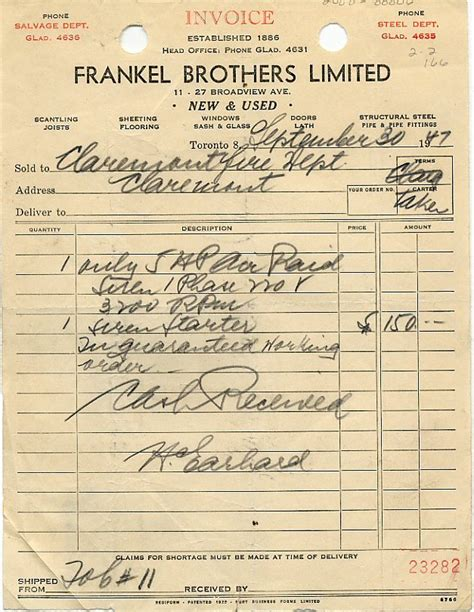 handwritten and typewritten invoices old