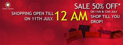 what stores are open until midnight on grand 50 sale on 100 brands at centre square kochi