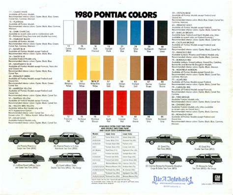 1980s colors 1971 firebird specs colors facts history and autos post
