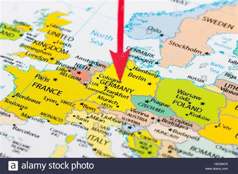 germany on europe map arrow pointing germany on the map of europe continent