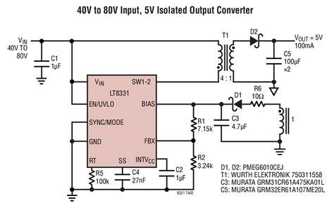 Dc Dc Converter Input 40v 40v Output 125v 37v 1 lt8331 40v to 80v input 5v isolated output converter