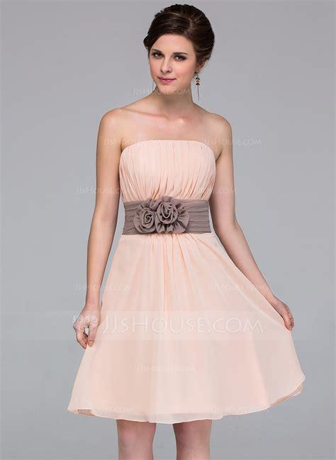 party jurken c a chiffon strapless knee length a line bridesmaid dress