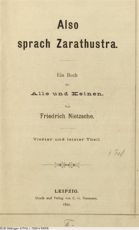 also sprach deutsches textarchiv nietzsche friedrich also sprach
