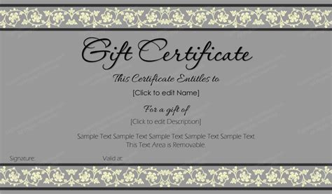 beauty in gray gift certificate template get certificate