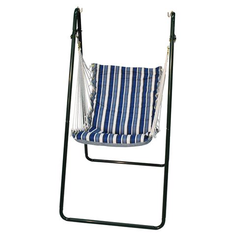 Blue Stripe Algoma Swing Chair And Stand Set